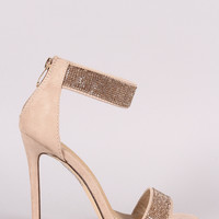 Suede Open Toe Rhinestone Accent Stiletto Heel
