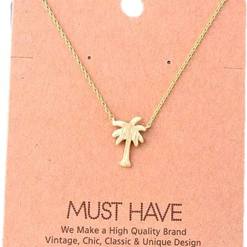 Must Have-Palm Tree Necklace, Gold