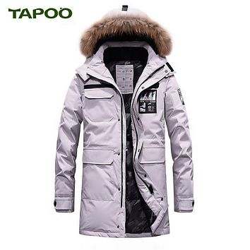 TAPOO Design 2017 New Long Winter Down Jacket With Fur Hood Men's Clothing Casual Jackets Thickening Parkas Male Big Coat