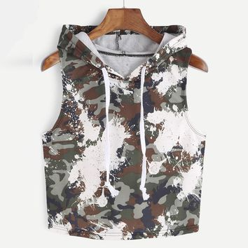 Camouflage Tank Tops Women Fashion Sexy Hooded Crop Sleeveless T-Shirt Tops Army Green Tank Tops Ladies' Vest