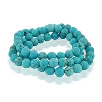 Bling Jewelry Set of 3 Stackable Gemstone Simulated Turquoise Bead Stretch Bracelet 8mm