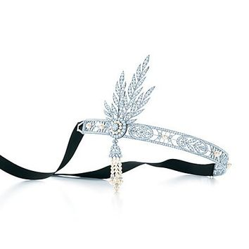 Tiffany & Co. -  The Great Gatsby Collection headpiece in platinum with diamonds and pearls.