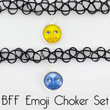 Emoji Necklace - Emoji Choker - BFF Necklaces - BFF Chokers - Choker Set - Necklace Set - Best Friend Necklace - Tattoo Choker - Best Friend