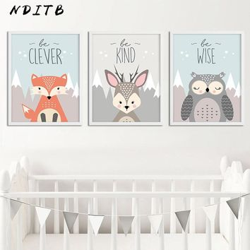 NDITB Woodland Animal Owl Deer Posters Nursery Prints Wall Art Canvas Painting Nordic Picture for Baby Living Room Decoration