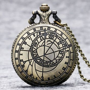 Retro Watches Compass Vintage Bronze Steampunk Quartz Necklace Pendant Chain Clock Pocket Watches Men Women Gifts Free Shipping