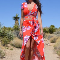 2-piece Red Floral Maxi Dress