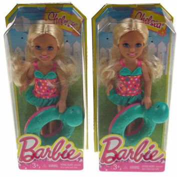 Lot 2 Barbie Friends Blond Dolls Sisters Chelsea Swim Ring Swimming Bathing Suit