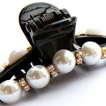 1 pcs Hair Clip Black Claw Crystal Pearl Plastics for Women/Baby Party Festival Rhinestone Hairpin 2 Sizes Hair Band Accessories