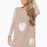 Light Brown Oversized Knit Sweater with Heart Print