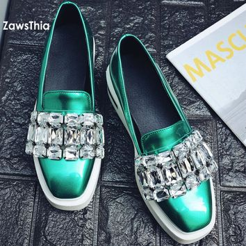 ZawsThia PU patent leather square toe shallow women loafers spring fall fashion girls slip on flat platform shoes with crystals