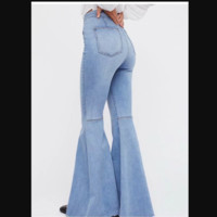Hot style elastic stitching high waist slim large flared jeans for women
