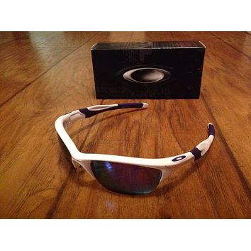 Oakley Men's Mirrored Half Jacket 2.0 White Wrap Sunglasses NEW