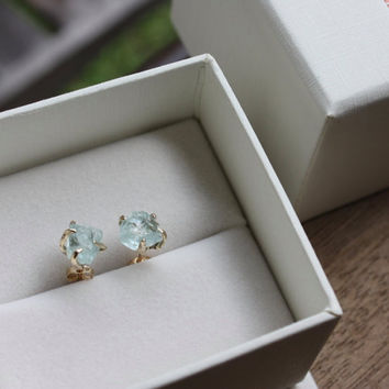 Raw Rough Unpolished Uncut Aquamarine and Solid Gold Stud Earrings