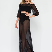 Be Seen Sheer Crop Top 'N Skirt Set