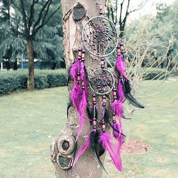 New Fashion Handmade Purple Dreamcatcher Wind Chimes Indian Style Flower Feather 2-ring Pendant Dream Catcher Gift