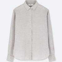 WOMEN PREMIUM LINEN CHECKED LONG-SLEEVE SHIRT