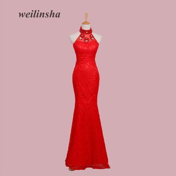 weilinsha Pearls Mermaid Lace Evening Dresses with Crystal Beading Halter Prom Party Gowns Vestido de  Festa