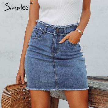 cde5e27c26e6 Simplee Sexy pencil denim women skirt Tassel high waist bodycon