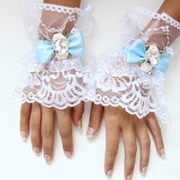 Alice in Wonderland Tea Party Lace Cuffs | MademoiselleMermaid - Accessories on ArtFire