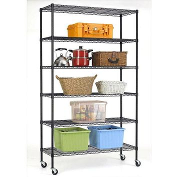 Heavy Duty 6-Shelf Adjustable Metal Shelving Rack with Casters