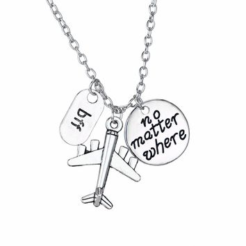 No Matter Where BFF Aircraft Plane Traveling The World Pendant Chain Necklace For Best Friend Friendship Jewelry Gifts Collar