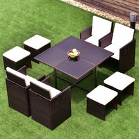9 PCS Wicker Rattan Cube Garden Furniture Table Sofa Lounge Patio Couch Set New