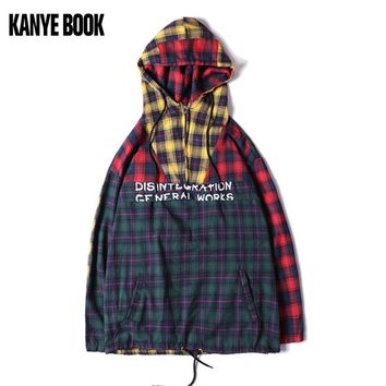 Autumn new hoodie men stitching plaid shirt hip hop jacket men and women casual fashion streetwear 2018 sweatshirt men lil peep