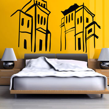 Vinyl Wall Decal Sticker Building Sketch #OS_MB1050