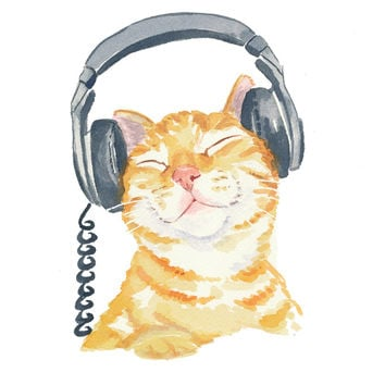 Orange Tabby Cat Watercolor PRINT - Music Art, Cat Illustration, 5x7 Painting Print