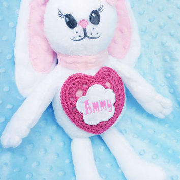 Stuffed Bunny, Personalized Baby Gift, Stuffed Baby Toy, Monogrammed Baby Gift, Stuffed toy Bonny, Personalized for baby, Stuffed Baby Toy