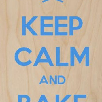 'Keep Calm and Bake Cakes' Chef Baker Hat & Spoons Blue - Plywood Wood Print Poster Wall Art