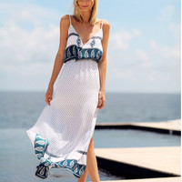 White V Neck Print Slit Maxi Dress