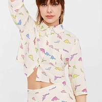 White Pepper Dinosaur Cropped Button-Down Shirt- White