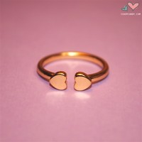 iShopCandy.com | Golden Double Heart Cuff Ring