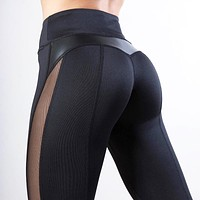 New fashion solid color yoga fitness sports splice pants women Black