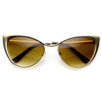 Womens Full Metal Fashion High Tip Pointed Cat Eye Sunglasses 9289