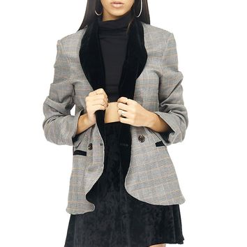Velvet Collar Glen Plaid Single Breasted Blazer
