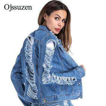 Trendy Overcoat Streetwear Women's Frayed Jacket Denim Large Size 5XL Fashion Turn Down Collar Coat Female Jeans Ripped Jacket Spring AT_94_13