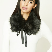 Ribbon Tie Faux Fur Scarf