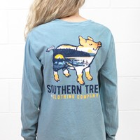 Great Outdoors Proud Pig Long Sleeve Tee {Iced Blue}