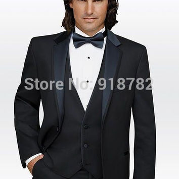 Formal Suit 2016 Custom Business Mens Black Wedding Suits For Men Groom Suit Men Tuxedo Best Man Suit (Jacket+Pants+Vest+Bow)