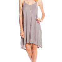 BACKLESS SPAGHETTI STRAP DRESS - LIGHT GREY