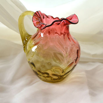 Amberina Glass / Inverted Daisy / Art Glass Pitcher / Mt Washington Pitcher / Hobbs Glass / Vintage Glass