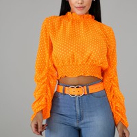 Neon Orange Polka Dot Crop Top