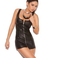 ZIP FRONT LEATHER DRESS