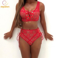 Sexy Bikini High Waist Up Lace Women Swimsuit Swimwear Push Bandage Bathing Suit
