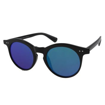 Unisex Metal Accented Sports Style Sunglasses with Color Mirror Lens