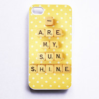 iPhone 4 Case: You Are My Sunshine. Retro Scrabble Print. White Case. iPhone 4s Case. Sunny Yellow. Polka Dots. READY-TO-SHIP