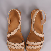 Bamboo Nubuck Strappy Scalloped Open Toe Flat Sandal
