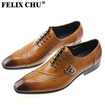 FELIX CHU Luxury Italian Designer Black Brown Brogue Genuine Leather Lace  Up Mens Formal Dress Party 32aebc7892e6